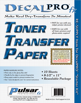 Graphic: Toner Transfer Paper cover sheet